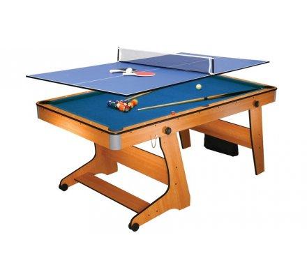 Table Multi Jeux Billard Clifton 6ft Américain (roulettes)+ Plateau W539RT